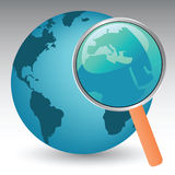 Planet Earth Under Magnifier. Vector illustration of planet earth under magnifier Stock Images