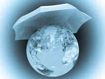 Planet Earth under umbrella Royalty Free Stock Photography