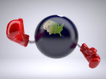 Planet earth with only United States of America, arms and boxing Royalty Free Stock Image