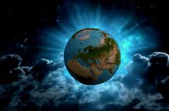 Planet Earth in the universe in 3d format royalty free illustration