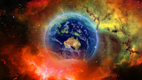 Planet Earth in universe or space, Earth and galaxy in a nebula cloud Royalty Free Stock Images