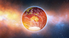 Planet Earth in universe or space, Earth and galaxy in a nebula cloud Royalty Free Stock Image
