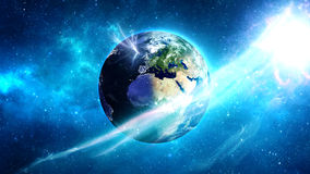 Planet Earth in universe or space, Earth and galaxy in a nebula clouds Royalty Free Stock Images