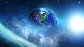 Planet Earth in universe or space, Globe and galaxy in a nebula clouds Royalty Free Stock Images
