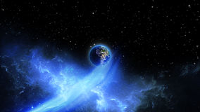 Planet Earth in universe or space, Globe and galaxy in a nebula clouds Royalty Free Stock Photo