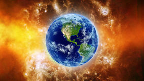 Planet Earth in universe or space, Globe and galaxy in a nebula clouds Royalty Free Stock Image