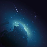 Planet Earth in Universe.Space in night with stars. Stock Images
