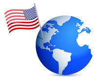 Planet earth with US flag. illustration design Royalty Free Stock Photo