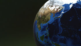 Planet Earth view showing Asia, Japan, 3d render Royalty Free Stock Photo
