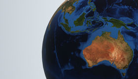 Planet Earth view showing Australia, 3d render Royalty Free Stock Photos