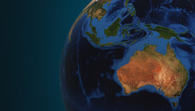 Planet Earth view showing Australia, 3d render Stock Photo