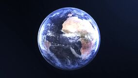 Planet Earth, view from space. 3d 4K animation of terrestrial globe