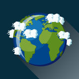 Planet Earth view from space icon. Stock Photo