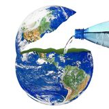 Planet Earth with a water bottle on white background. The planet Earth with a water bottle on white background Stock Photos