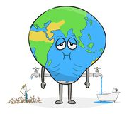 Planet Earth with water tap. Concept of world water crisis. stock photography