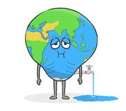 Planet Earth with water tap. Concept of world water crisis. stock image