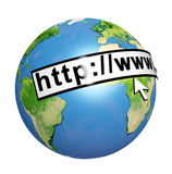 Planet Earth, web address and computer mouse cursor Royalty Free Stock Photography