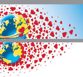 Planet earth with wedding rings and flying hearts. Royalty Free Stock Image