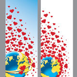 Planet earth with wedding rings and hearts.Vector Royalty Free Stock Photos