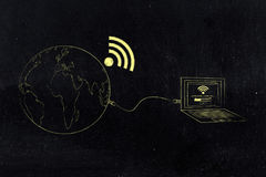 Planet earth with wi-fi symbol attached to computer with Establi Stock Photography