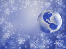 Planet earth winter. Christmas, New Years Day royalty free stock photos