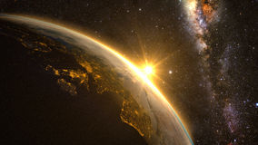 Free Planet Earth With A Spectacular Sunrise Royalty Free Stock Photos - 66911488