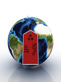 Planet Earth With Label Sale Royalty Free Stock Photo