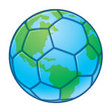 Planet Earth World Cup Soccer Ball. Vector illustration of a soccer ball designed to look like the planet earth. Great for World Cup designs stock illustration