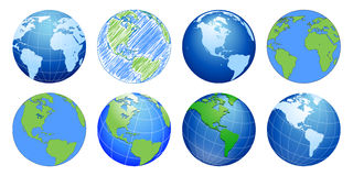 Planet Earth, world globe maps stock illustration