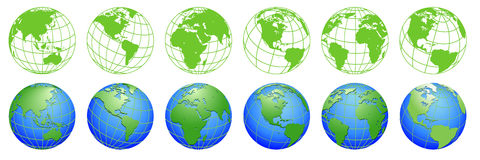 Planet Earth, world globe maps, set of ecology icons. For design Royalty Free Stock Image