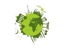Planet Earth. World landmarks of architecture. Travel around the world. Vector stock illustration