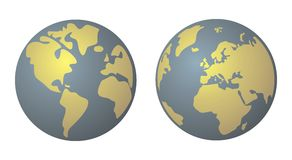 Planet Earth yellow and denim blue vector isolated. World globe isolated on white background with North and South America, Greenland, Africa, Europe and Asia Royalty Free Stock Photos