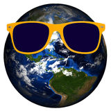 Planet Earth Yellow Sunglasses Isolated Stock Images