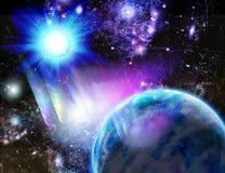 Planet an einer blauen Sonne lizenzfreie stockfotos