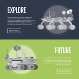 Planet exploration flyers with research rovers. Planet exploration flyers with research rover. Robotic space autonomous vehicles for planet discovery and stock illustration