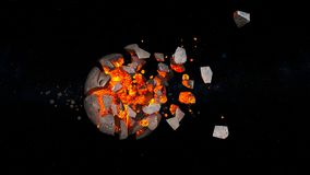 Planet explosion. 3D CG rendering of the planet explosion Royalty Free Stock Photos