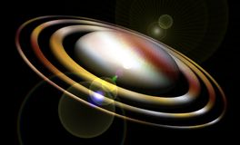 planet Exponerade livliga färgrika omlopp, planet, stjärnor, natt, ljus, måne, abstrakt bakgrund vektor illustrationer
