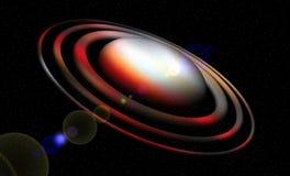planet Exponerade livliga omlopp, planet, stjärnor, natt, ljus, måne, abstrakt bakgrund royaltyfri illustrationer
