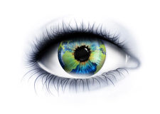 Planet is in the eye Stock Photography
