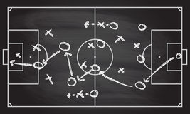 Planet för fotboll- eller fotbolllekstrategi på svart tavlatextur med krita gned bakgrund Arkivbilder