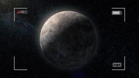 Planet för gasjätte Planet i utrymme med solexponeringen, kamera rec Miranda miljarder av galaxer i universumet extrasolar lager videofilmer
