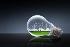 planet för green för gräs för jordklot för begreppsjord nytt Miljö för ekologi för natur för rengöring för vindturbin arkivfoton