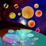 Planet för utrymmelandskapvatten illustration royaltyfri illustrationer