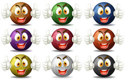 Planet faces with happy emotions Royalty Free Stock Image