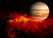 Planet and fiery supernova Royalty Free Stock Image