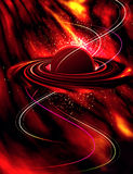 Planet in fire. Illustration planet with ring in fire of cosmos Stock Photography