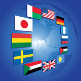 Planet and flags Royalty Free Stock Photography