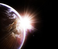 Planet with a flash of sun. Blue planet with a flash of sun, abstract background royalty free illustration