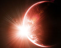 Planet with a flash of sun Royalty Free Stock Photos
