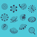 Planet flat icons Stock Photography